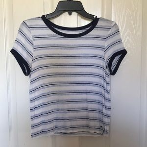 American Eagle Soft and Sexy Blue Striped Tee